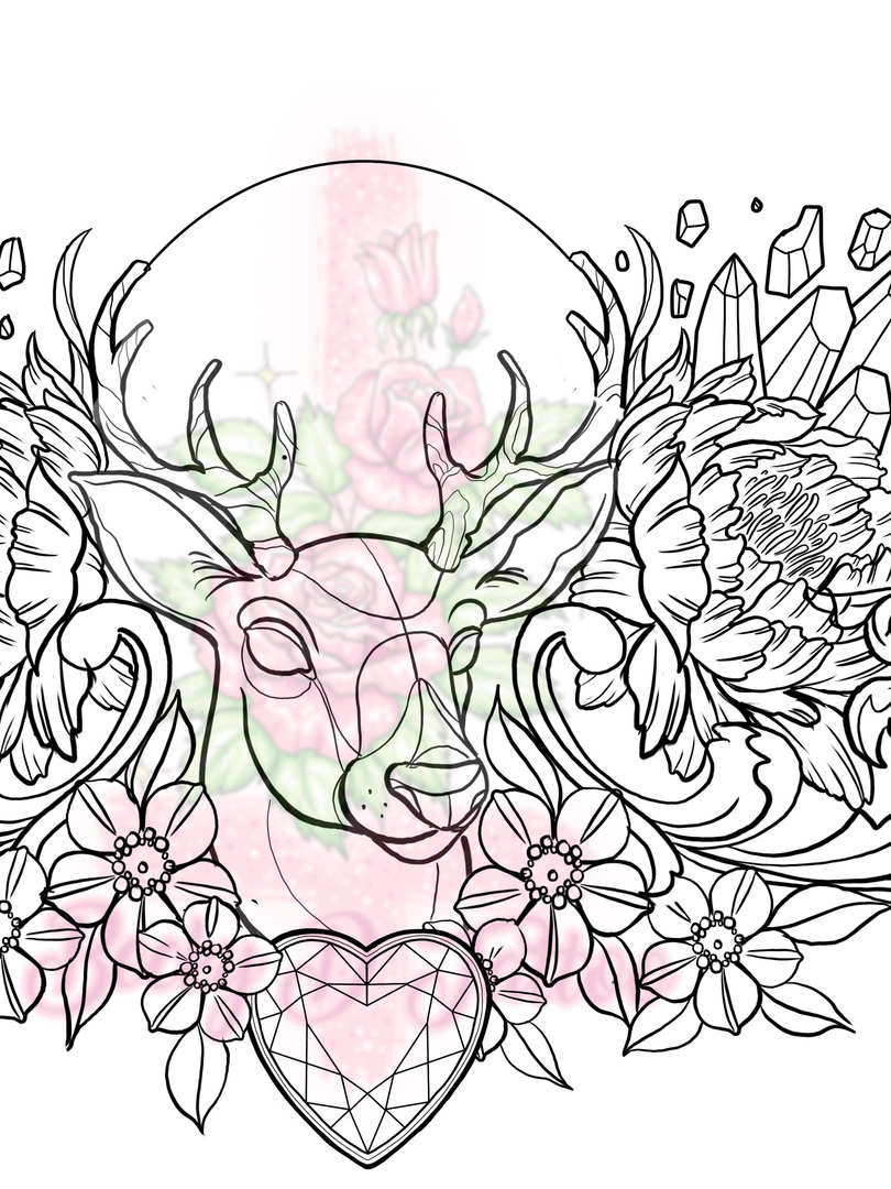 Stag & Crystal Chest Piece