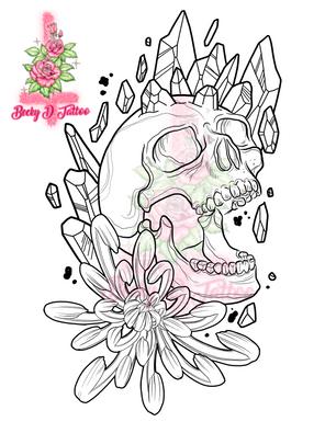 Chrysanthemum & Skull