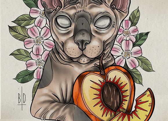 Peach - Art Print (w/ REAL PAW PRINT)