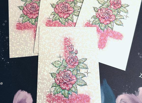 Cross & Roses - Glitter Sticker