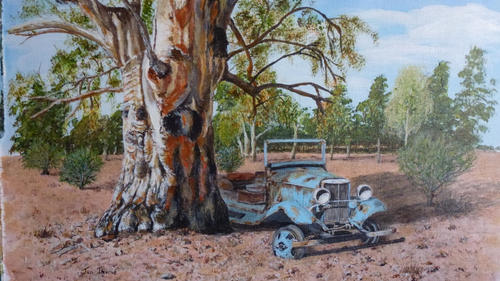 Old truck and gum tree
