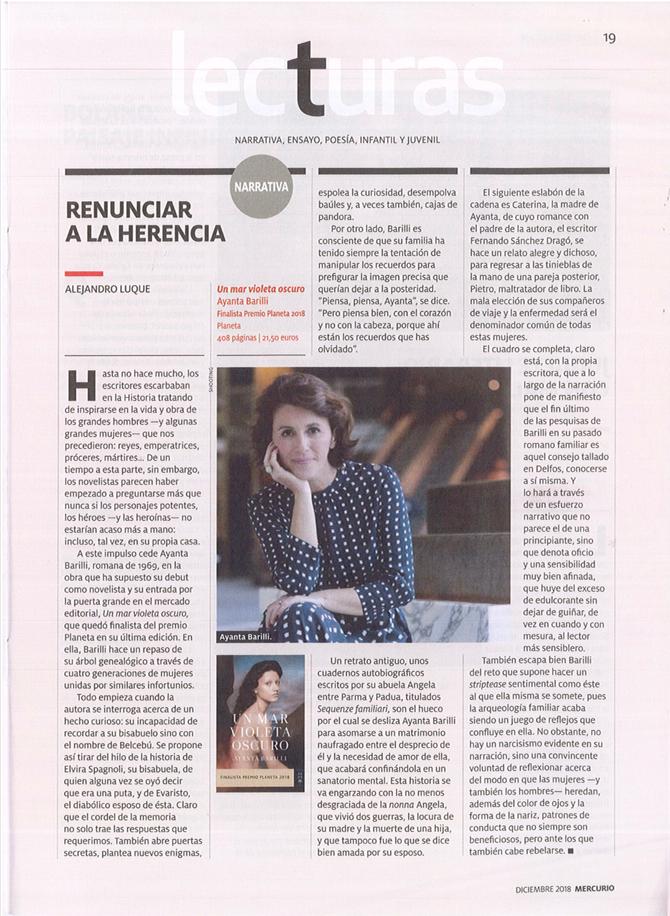 """Crítica """"Un Mar Violeta Oscuro"""" - Revista Mercurio"""