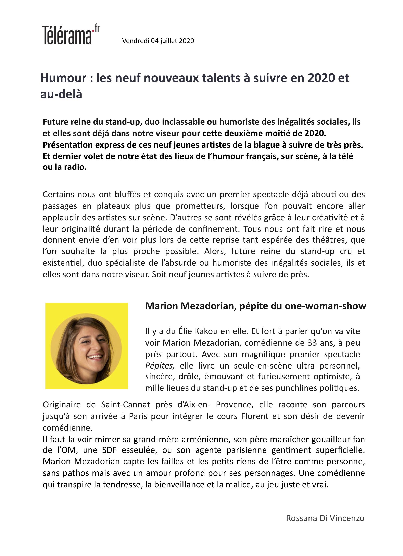 Télérama.fr 04.07.20