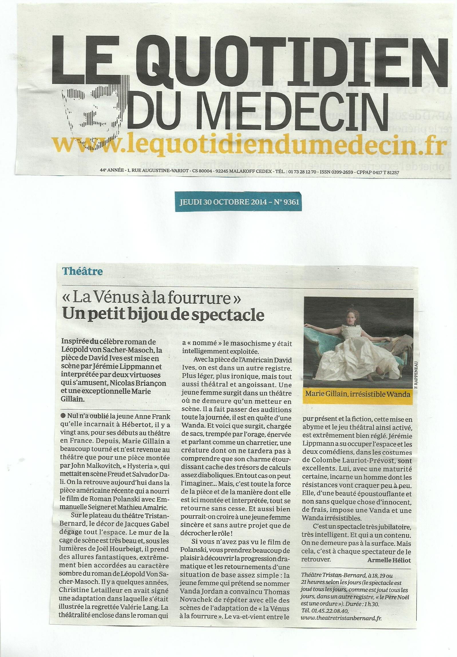 Le Quotidien du Médecin 30.10.14