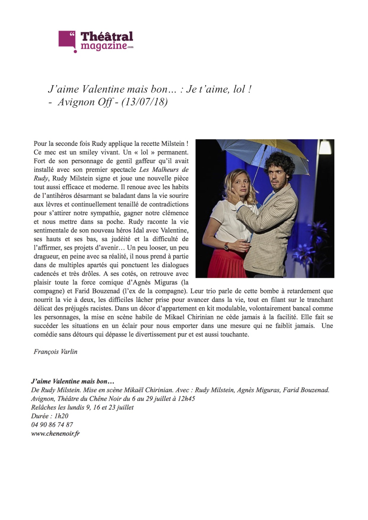 Théâtral Magazine 13.07.18