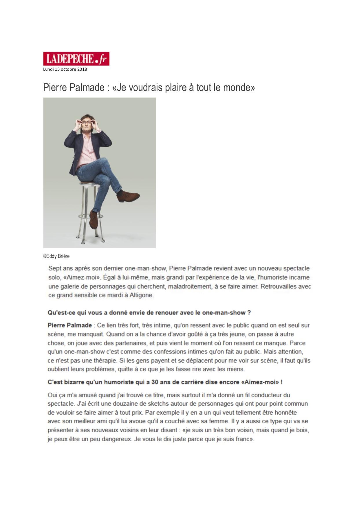 La Dépêche p1 - 15.10.18