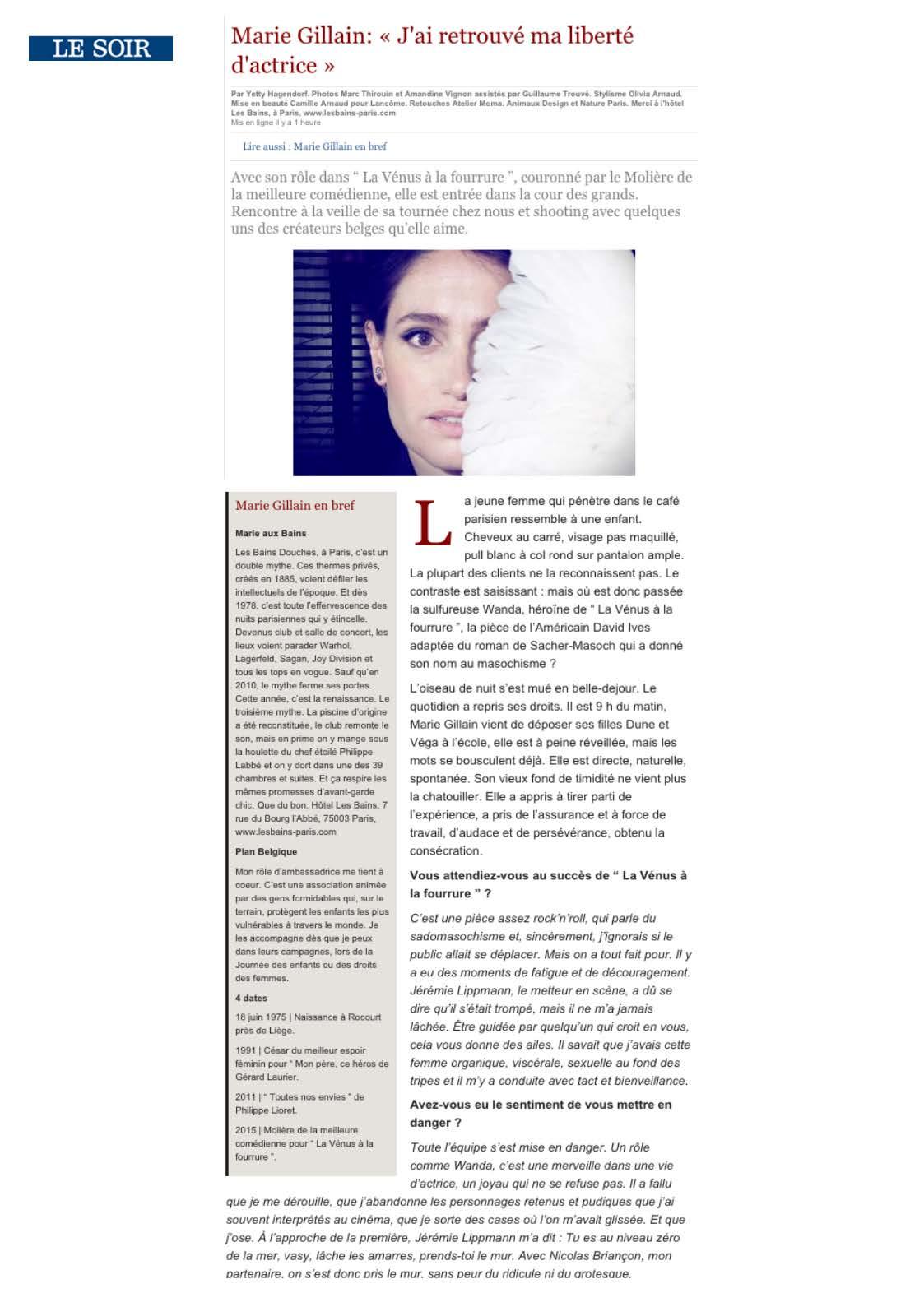 Le Soir 10.06.15 page 1/4