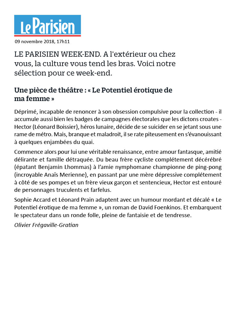 Le Parisien week-end 9.11.18