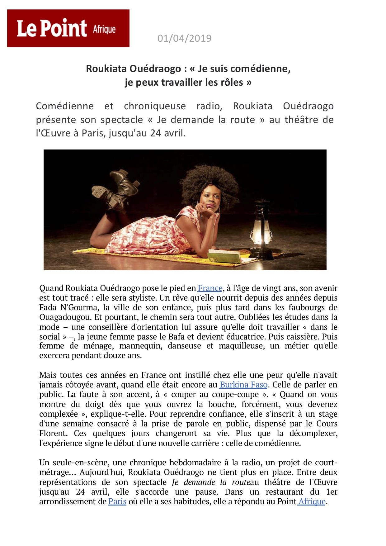 Le Point Afrique Itw p1 - 01.04.19