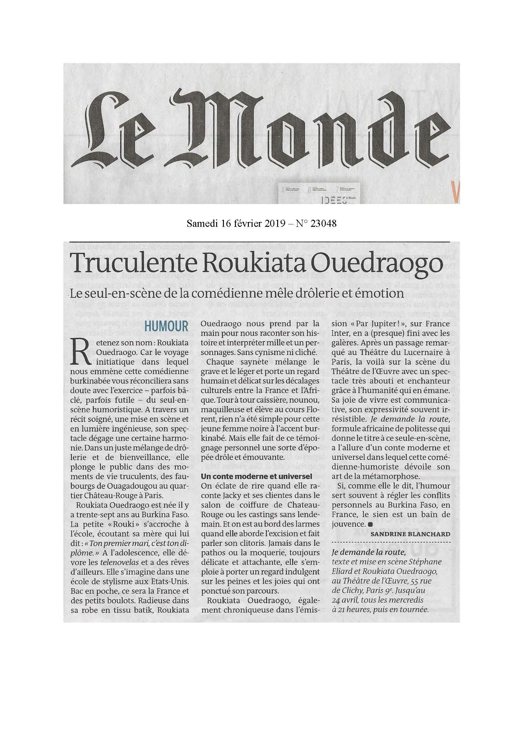 Le Monde 16.02.19