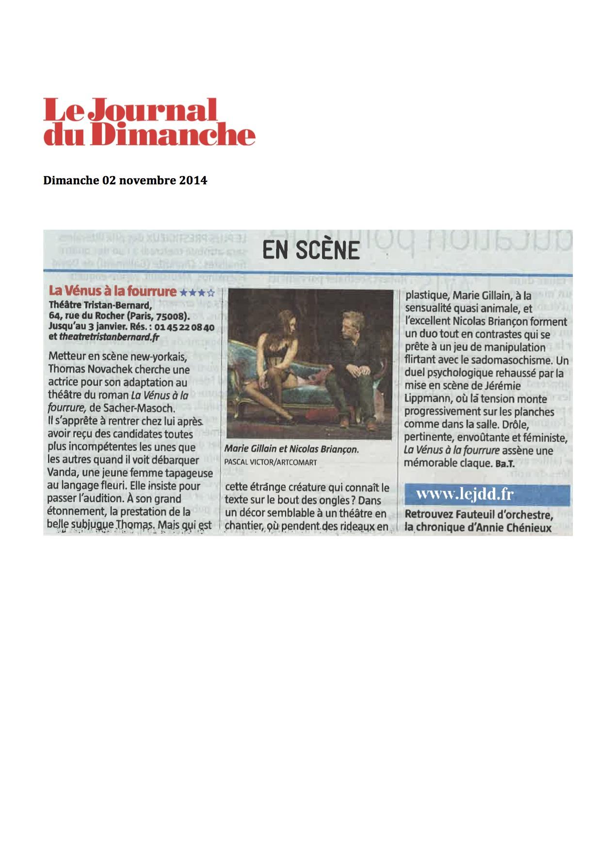 Le Journal Du Dimanche 02.11.14