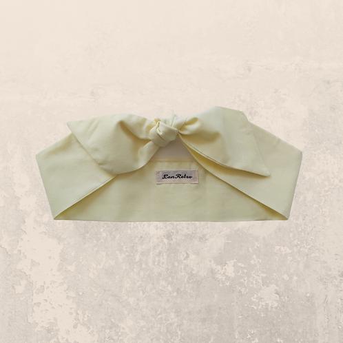 Pastel Yellow Plain Coloured Self Tie Headband 6 cm