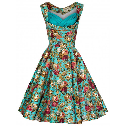 Lindy Bop Ophelia Turquoise Floral Swing Dress