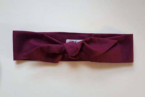 Burgundy Plain Coloured Self Tie Headband 5.5 cm