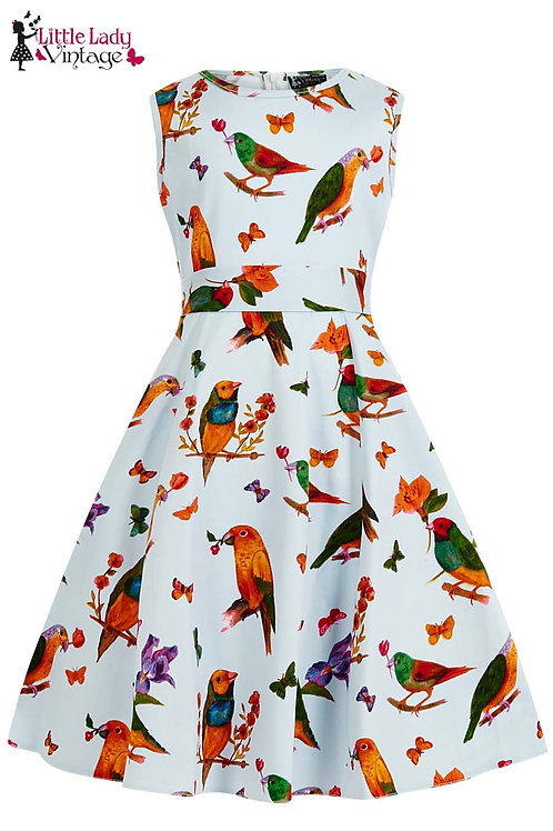 Little Lady Vintage Love Birds Dress Front View