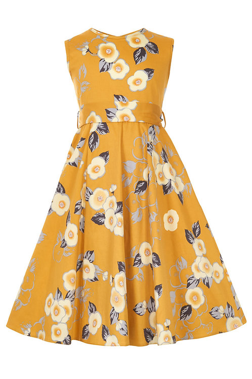 Little Lady Vintage Yellow Floral Dress Front View