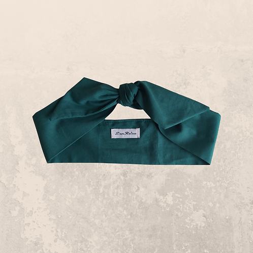 Forest Green Plain Coloured Self Tie Headband 5.5 cm