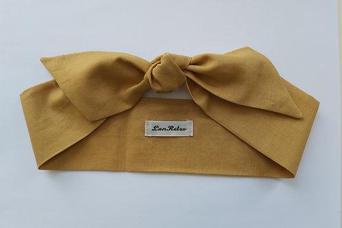 Mustard Yellow Plain Coloured Self Tie Headband 5.5 cm