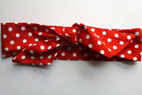 Red and White Polka Dot Head Tie 5.5 cm