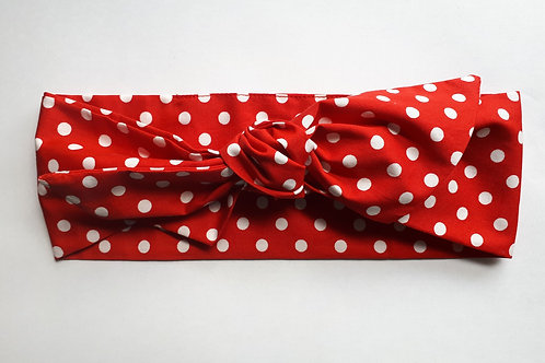 Red and White Polka Dot Cotton Head Tie