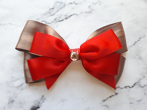 Red/Mocha Satin Hair Bow