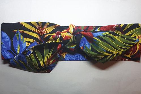 Black Multi Coloured Tropical Tiki Print Self Tie Headband 5.5 cm