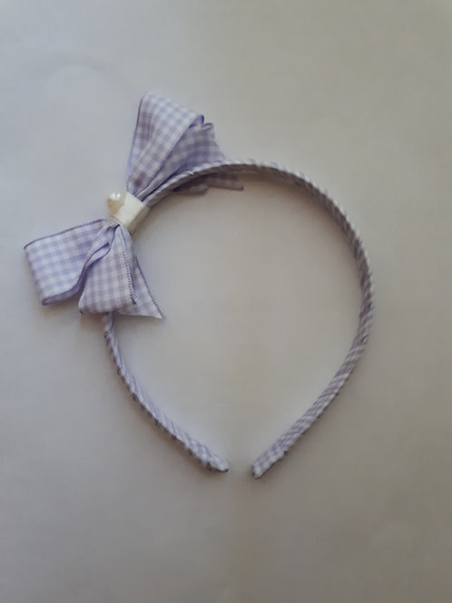 Lilac Gingham Hairband Front View