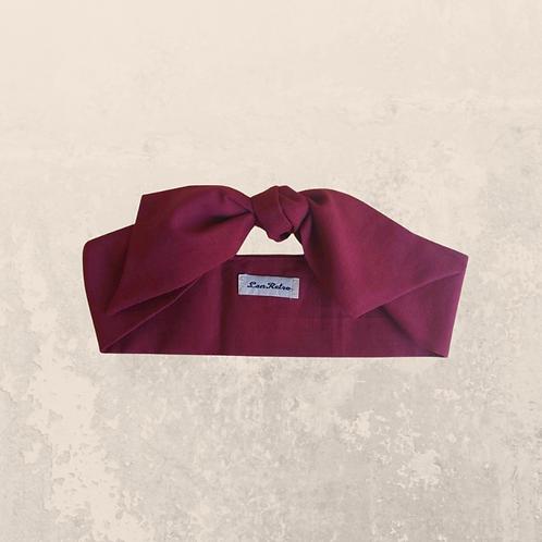 Burgundy Plain Coloured Self Tie Headband 6 cm