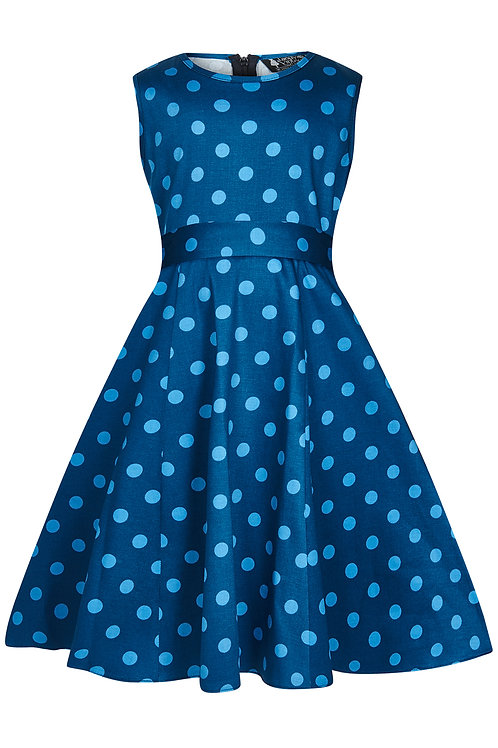 Little Lady Vintage Niagra Blue Polka Dress Front View