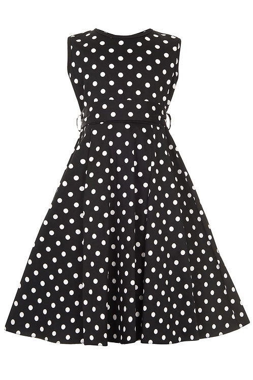 Little Lady Vintage Black/White Polka Dot Dress