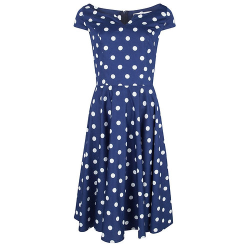 Hell Bunny Navy & White Antoinette Dress Front View