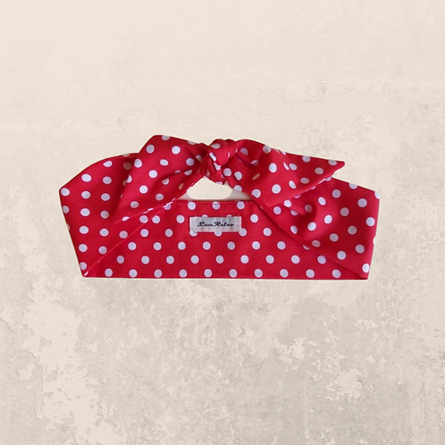 Red and White Polka Dot Head Tie 6 cm