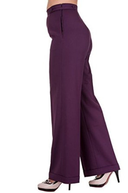 Banned Dancing Days Aubergine High Waist Swing Trousers Side View