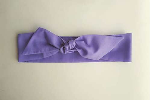Lilac Plain Coloured Self Tie Headband 5.5 cm