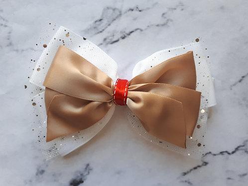 Gold/White Sparkle Hair Bow