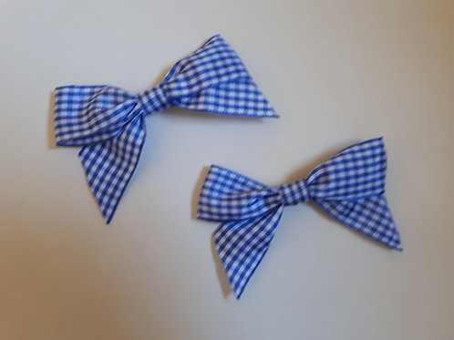 Small Royal Blue Gingham Hair Bow Set