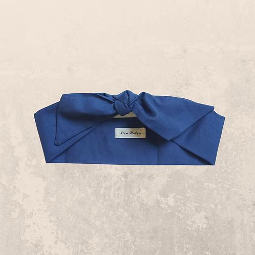 Navy Blue Plain Colour Self Tie Headband 6 cm