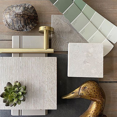 Cavalier and Company. Interior design flat lay in Chicago. Masculine color palette. FFE, kitchen stone, paint colors, renovation, construction, remodeling, mood board. Joshua Jones and Chris Junkerman.
