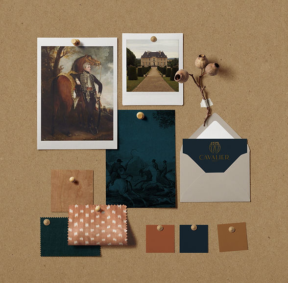 Cavalier and Company Chicago mood board features brand stategy, inspirational imagery, fabric samples, and paint colors. This is a masculine interior design flat lay inspired by european influences and southern flair. Inspiration is derived from British imagery, the French countryside, and equestrian influences. Cavalier and Co is an interior design and event planning company based in Chicago. Mood boards are available for E-Design and full-scale renovation. Joshua Jones and Chris Junkerman.