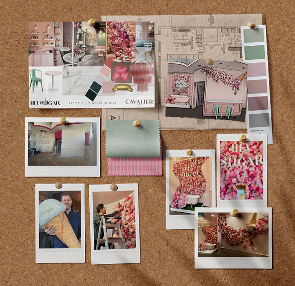 Mood board flat lay of Hey Sugar Geneva. Cavalier and Company owners, Joshua Jones and Chris Junkerman. Cavalier and Company is a Chicago based design firm specializing in interior design and renovations, wedding and event planning, experiential marketing, and seasonal installations. We are interior designers, event planners, designers, graphic designers, fabricators, and artists.