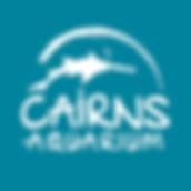 Cairns Aquarium Logo - White on Blue Bac