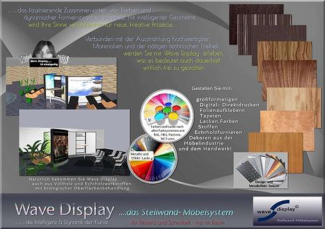 wählen Sie frei, Material - Farbe - Oberfläche bei Wave Display Stellwand-Möbelsystem, als Stellwandsystem, Raumteiler, Trennwandsystem, Messewand, Paravent uvm.