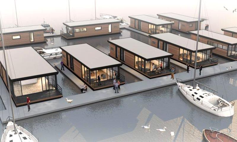 Jachtmakelaardij Goliath realisiert mit/im Lelystad Haven 8 feste Plätze für Hausboote.