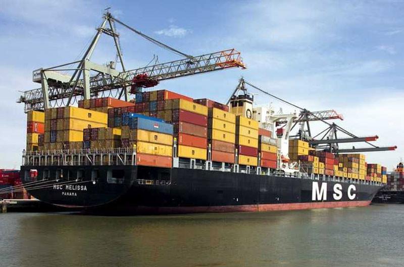 Ein Containerriese von MSC mit Hauptsitz in Genf.