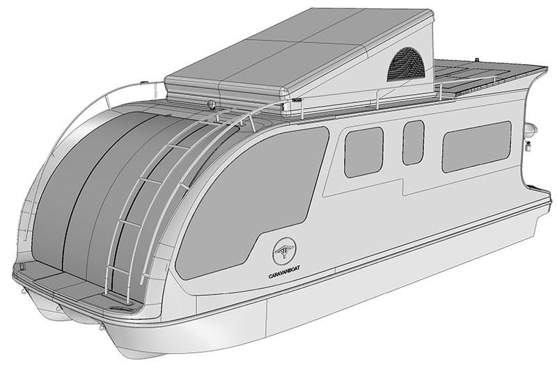 Das Caravanboat mit Faltdach.