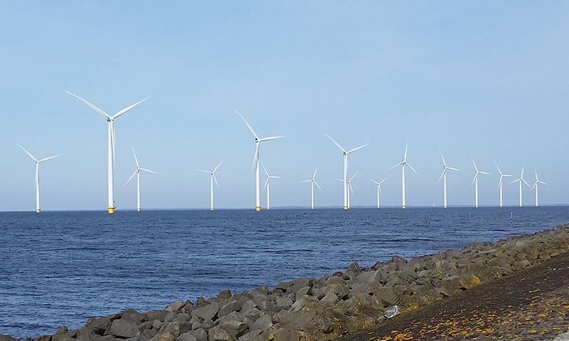 Der moderne Windpark im IJsselmeer vor Urk.