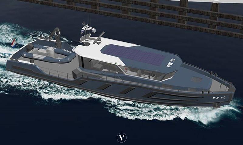 Eine Zeichnung des neuen elektrisch angetriebenen Inspektionsboot.