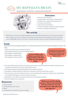 My reptilian brain wellbeing curriculum support sheet