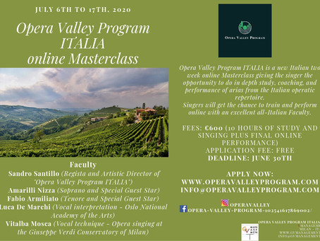 Opera Valley Program ITALIA is now an online Masterclass