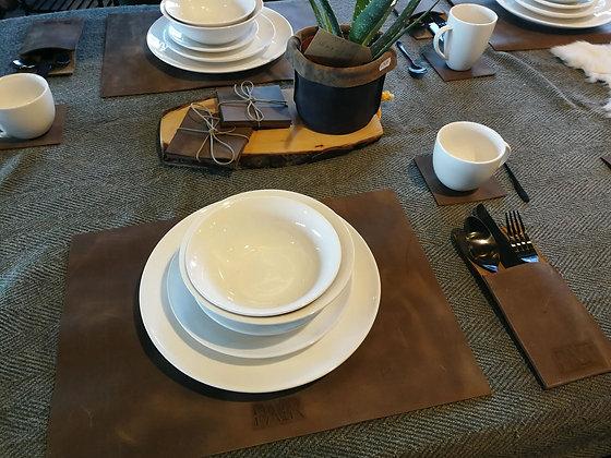 Lederen tafel-accessoire